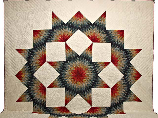King Brick Red and Steel Blue Broken Star Quilt Photo 2