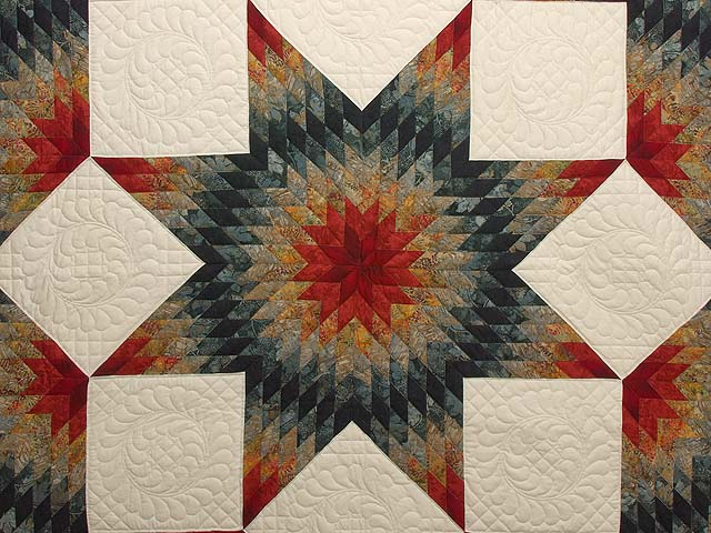 King Brick Red and Steel Blue Broken Star Quilt Photo 3