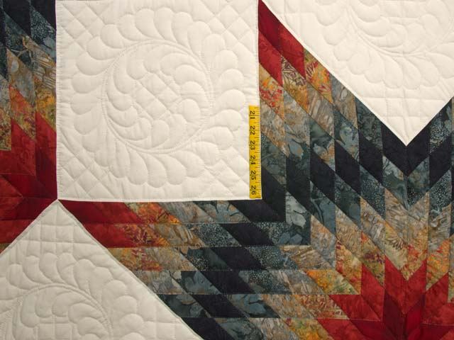 King Brick Red and Steel Blue Broken Star Quilt Photo 4