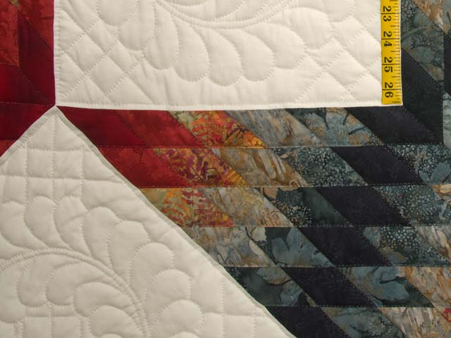 King Brick Red and Steel Blue Broken Star Quilt Photo 6