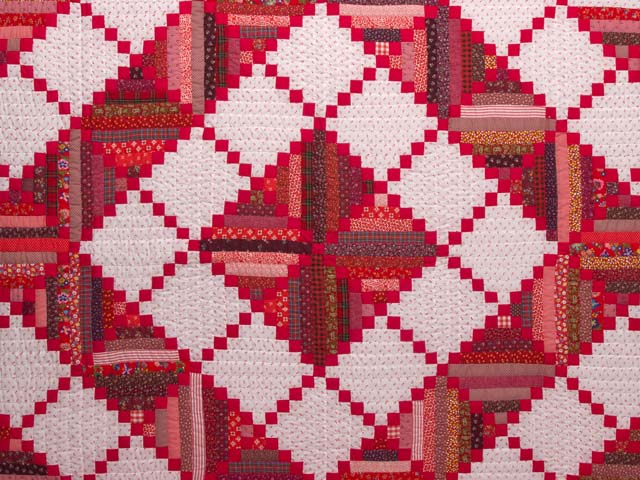 Bright Red Log Cabin Quilt Photo 3