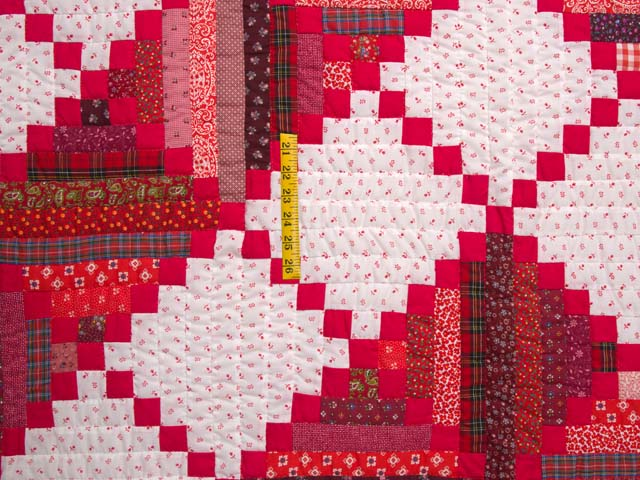 Bright Red Log Cabin Quilt Photo 4