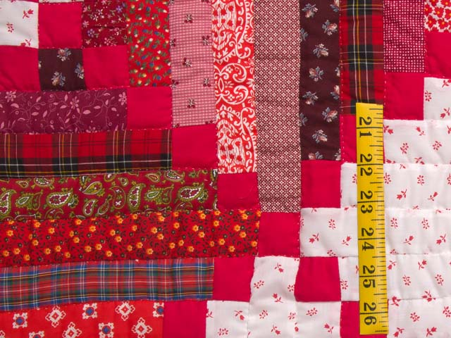 Bright Red Log Cabin Quilt Photo 5