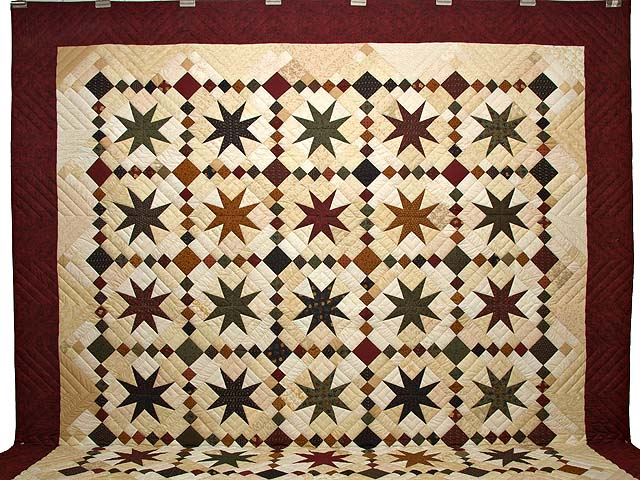 King Burgundy Golden Tan and Multi Stepping Through the Stars Quilt Photo 2