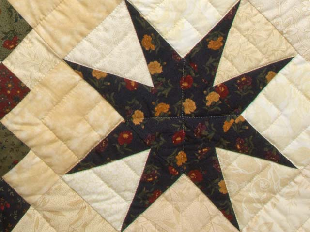 King Burgundy Golden Tan and Multi Stepping Through the Stars Quilt Photo 6