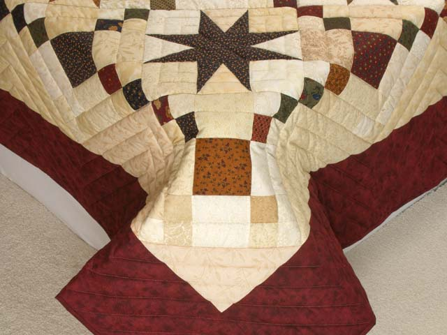 King Burgundy Golden Tan and Multi Stepping Through the Stars Quilt Photo 7