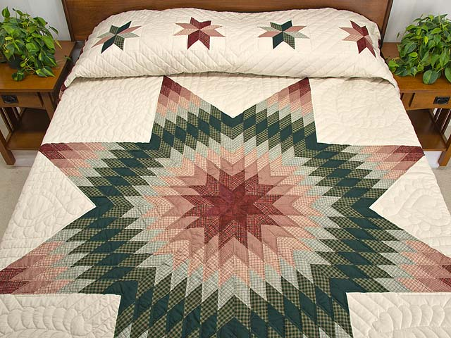Burgundy and Green Plaid Lone Star Quilt Photo 1