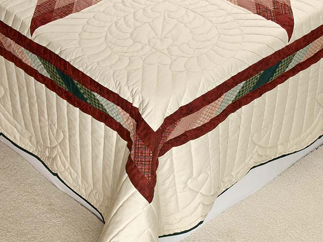 Burgundy and Green Plaid Lone Star Quilt Photo 7