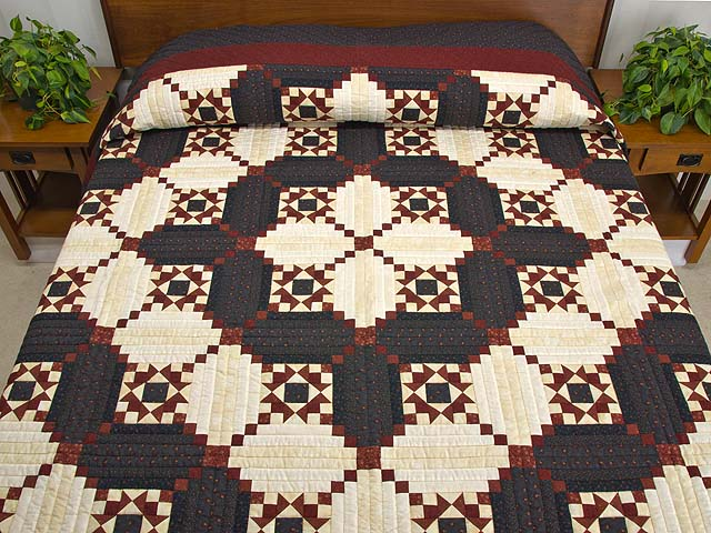 Burgundy and Navy Stars in the Cabin Quilt Photo 1