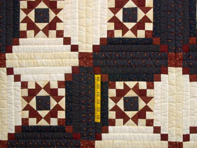Burgundy and Navy Stars in the Cabin Quilt Photo 4