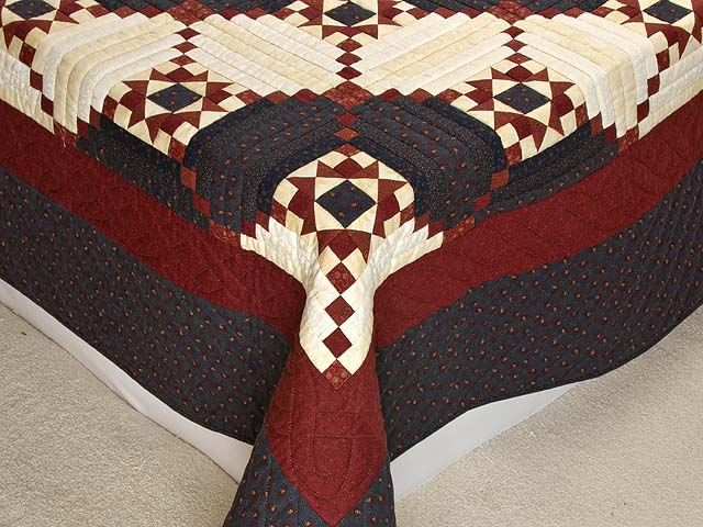 Burgundy and Navy Stars in the Cabin Quilt Photo 7