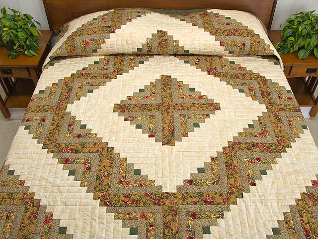 Gold and Moss Green Log Cabin Quilt Photo 1