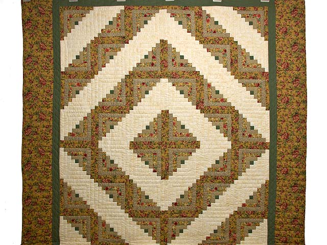 Gold and Moss Green Log Cabin Quilt Photo 2