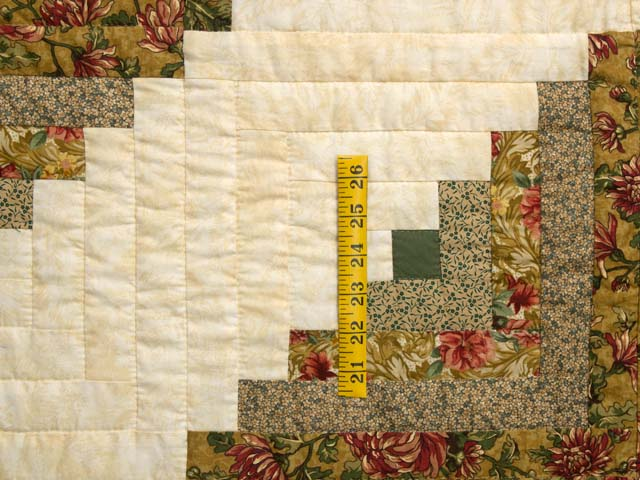 Gold and Moss Green Log Cabin Quilt Photo 4