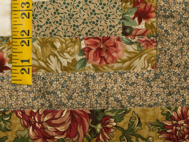 Gold and Moss Green Log Cabin Quilt Photo 5