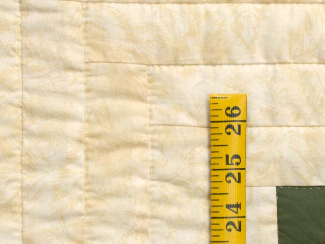 Gold and Moss Green Log Cabin Quilt Photo 6