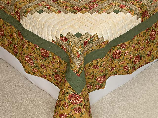 Gold and Moss Green Log Cabin Quilt Photo 7