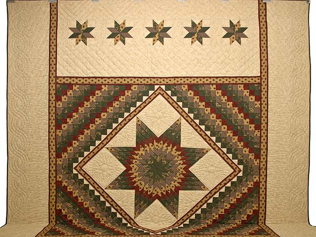 King Burgundy Green and Gold Lone Star Trip Quilt Photo 2