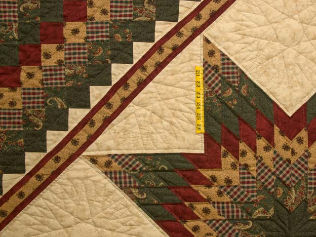 King Burgundy Green and Gold Lone Star Trip Quilt Photo 4