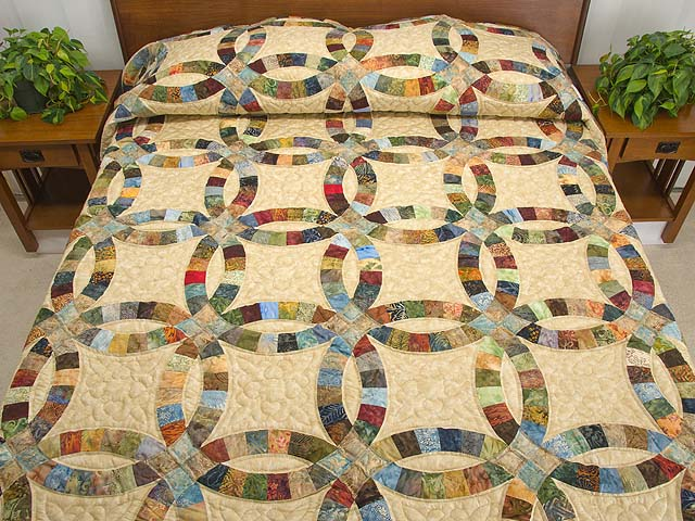 king hand painted double wedding ring quilt photo 1 - Double Wedding Ring Quilt Pattern