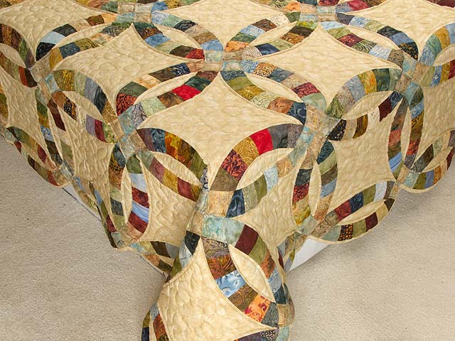 King Hand Painted Double Wedding Ring Quilt Photo 7