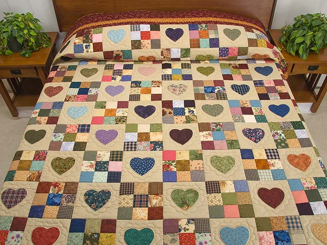 Burgundy Gold and Multi Hearts and Nine Patch Quilt Photo 1