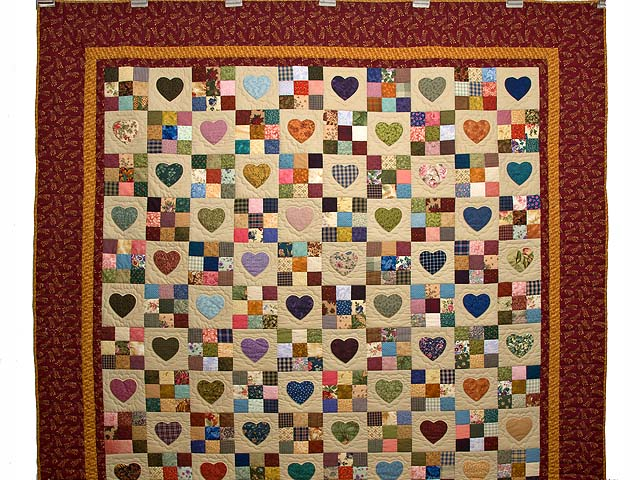 Burgundy Gold and Multi Hearts and Nine Patch Quilt Photo 2