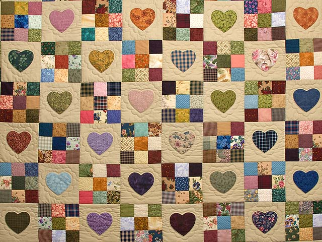 Burgundy Gold and Multi Hearts and Nine Patch Quilt Photo 3