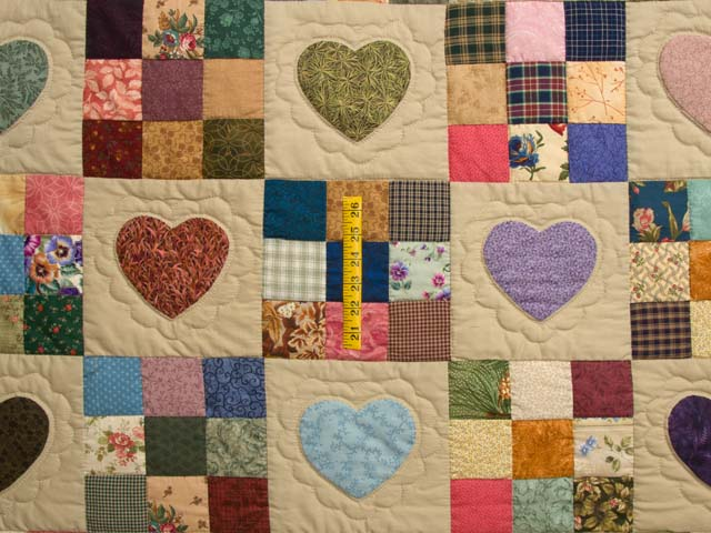 Burgundy Gold and Multi Hearts and Nine Patch Quilt Photo 4