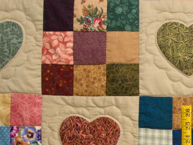 Burgundy Gold and Multi Hearts and Nine Patch Quilt Photo 5