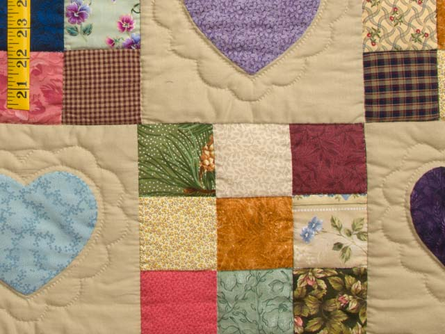 Burgundy Gold and Multi Hearts and Nine Patch Quilt Photo 6