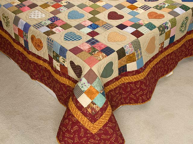 Burgundy Gold and Multi Hearts and Nine Patch Quilt Photo 7