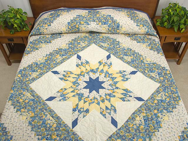 Blue and Golden Yellow Lone Star Log Cabin Quilt Photo 1
