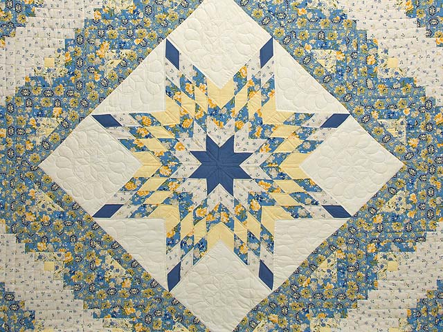 Blue and Golden Yellow Lone Star Log Cabin Quilt Photo 3