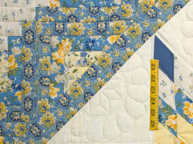 Blue and Golden Yellow Lone Star Log Cabin Quilt Photo 5