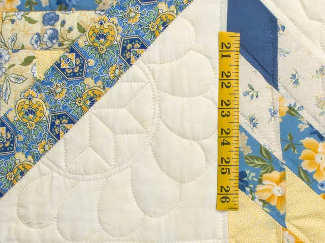 Blue and Golden Yellow Lone Star Log Cabin Quilt Photo 6