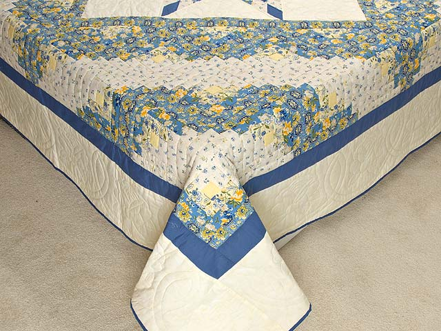 Blue and Golden Yellow Lone Star Log Cabin Quilt Photo 7