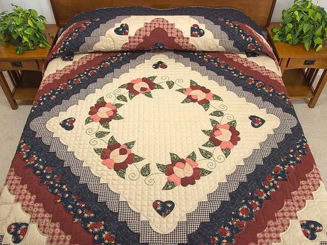 Navy Burgundy and Tan Hearts All Around Quilt Photo 1