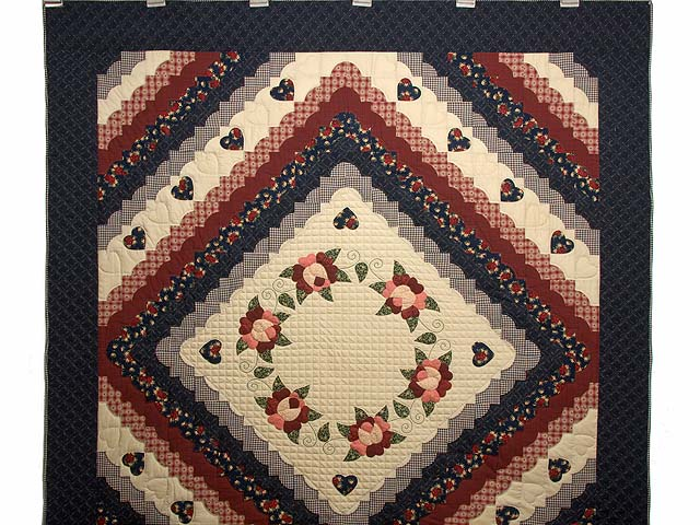 Navy Burgundy and Tan Hearts All Around Quilt Photo 2