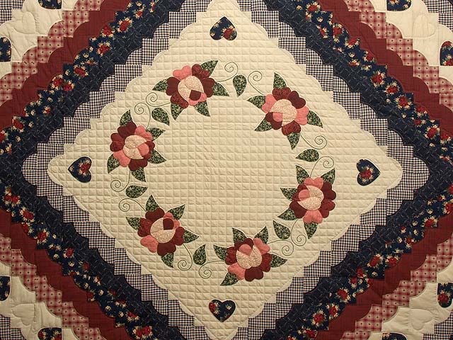 Navy Burgundy and Tan Hearts All Around Quilt Photo 3