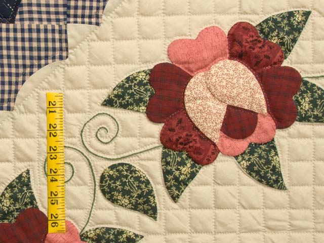 Navy Burgundy and Tan Hearts All Around Quilt Photo 6