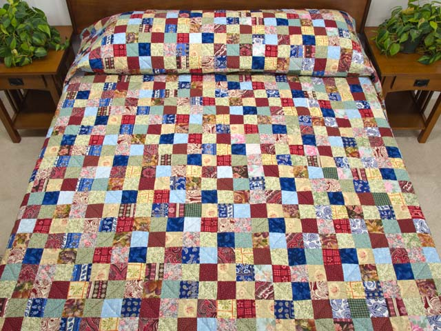 Burgundy Teal and Multicolor Hit or Miss Quilt Photo 1