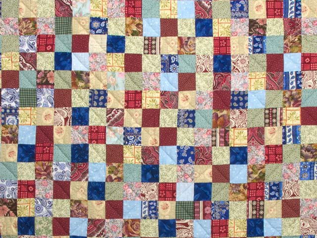 Burgundy Teal and Multicolor Hit or Miss Quilt Photo 3