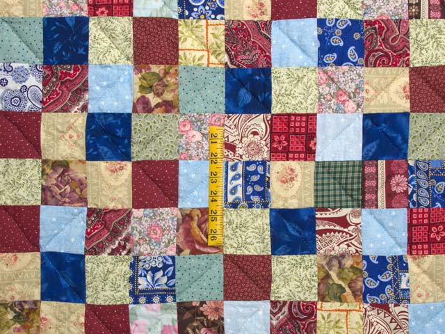 Burgundy Teal and Multicolor Hit or Miss Quilt Photo 4