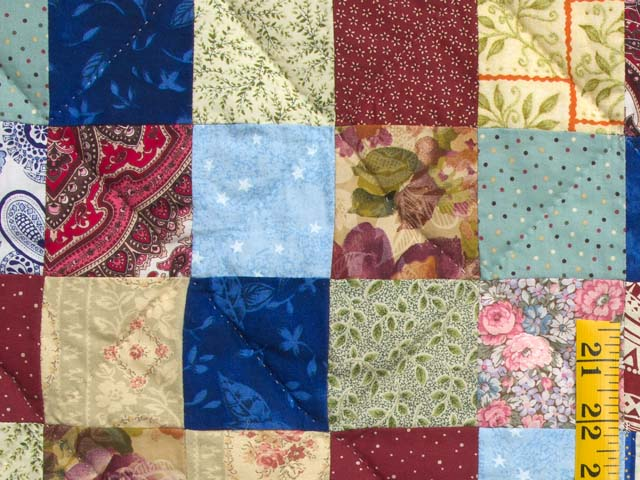 Burgundy Teal and Multicolor Hit or Miss Quilt Photo 5