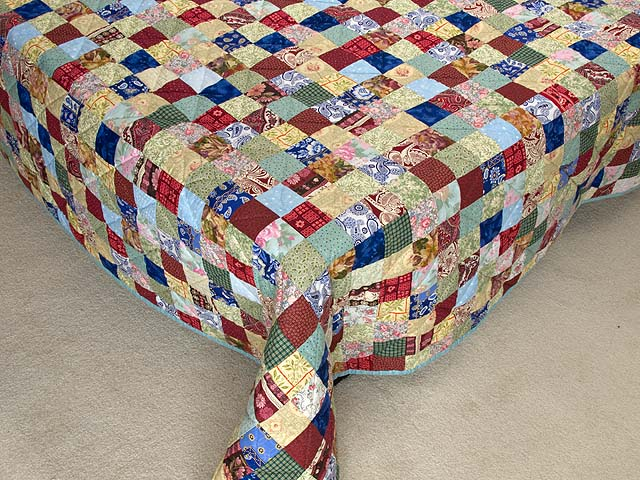 Burgundy Teal and Multicolor Hit or Miss Quilt Photo 7