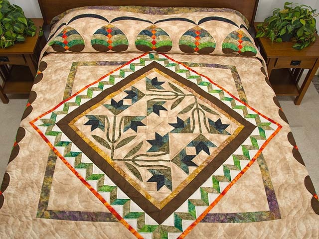 Gold Tan Green and Auburn Flowering Hearts Quilt Photo 1