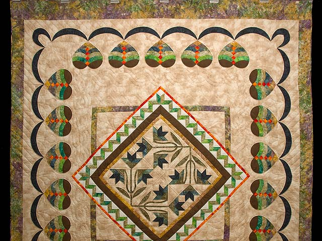 Gold Tan Green and Auburn Flowering Hearts Quilt Photo 2