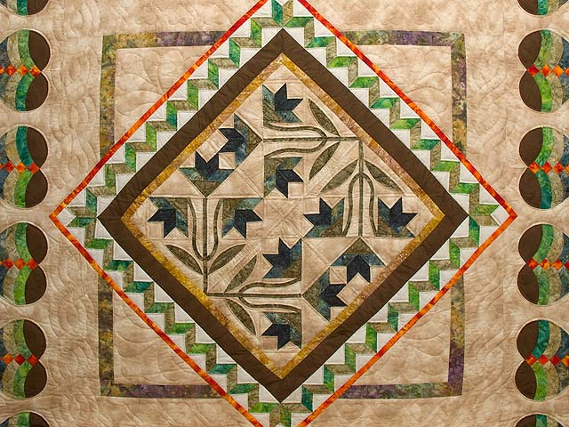 Gold Tan Green and Auburn Flowering Hearts Quilt Photo 3