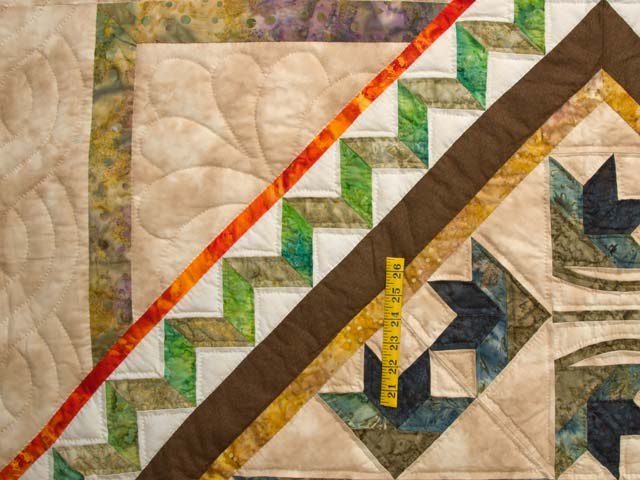 Gold Tan Green and Auburn Flowering Hearts Quilt Photo 4
